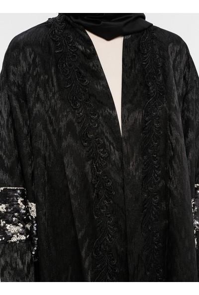 Mileny Payet Detaylı Kimono Ceket Siyah