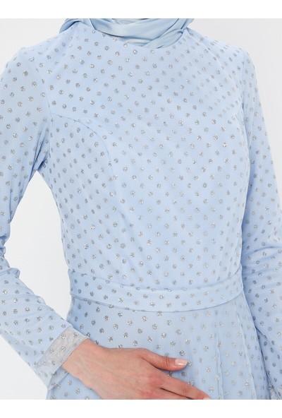 Mileny Kadın Simli Abiye Elbise Mavi