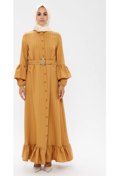 Bürün Çizgi Detaylı Elbise Hardal