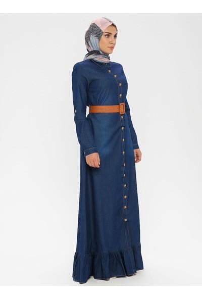 Bürün Boydan Düğme Detaylı Kot Elbise Lacivert