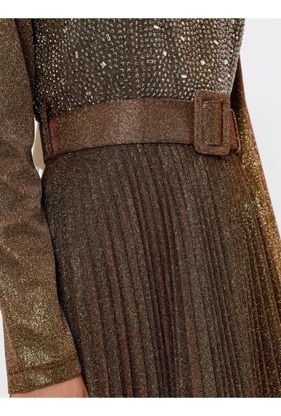 Mileny Kadın Simli Kemerli Abiye Elbise Hardal
