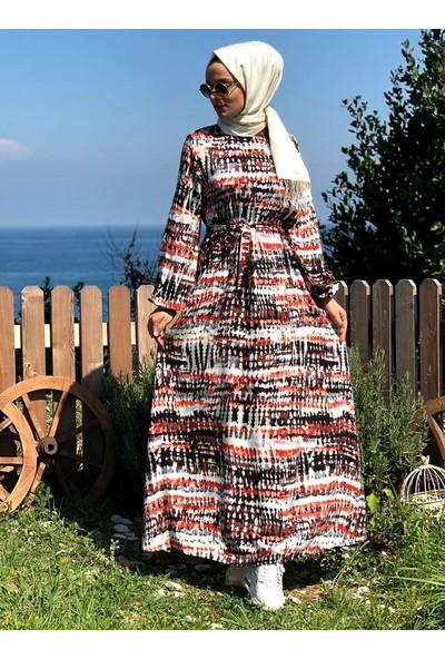 Kübra Biriktir Ebruli Elbise Karışık Renkli