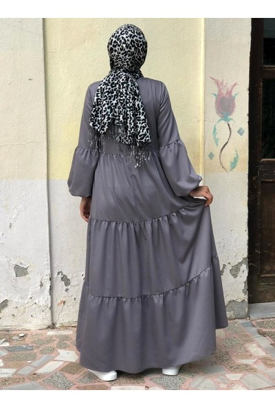 Kübra Biriktir Salaş Elbise Gri
