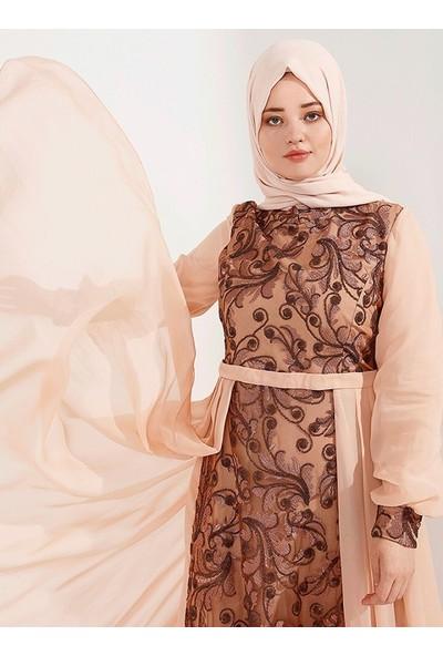 Nesrin Emniyetli Kadın Şifon Ekli Leydi Abiye Elbise Bakır Somon