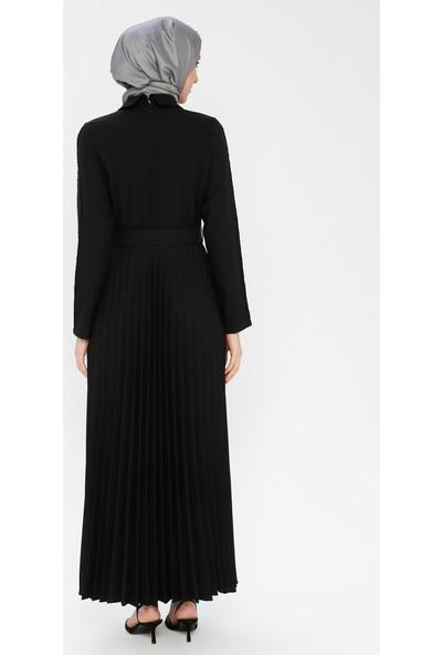 Bürün Kemerli Payet İşlemeli Elbise Siyah