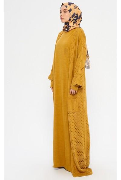 Veteks Line Elbise Hırka İkili Triko Takım Hardal