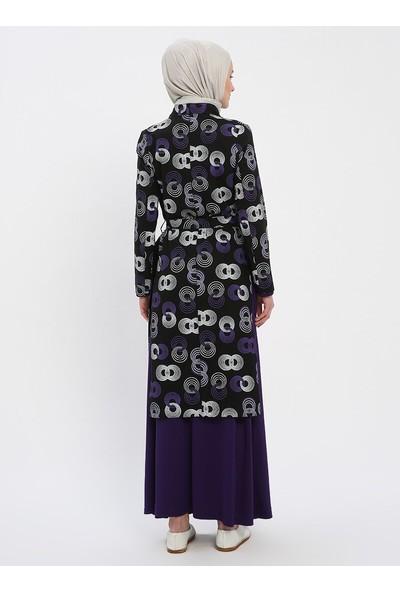 Nilüfer Kamacıoğlu Elbise Kap İkili Takım Siyah Mor