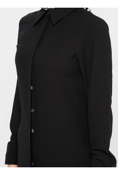 Topless Kadın Gömlek Tunik Siyah