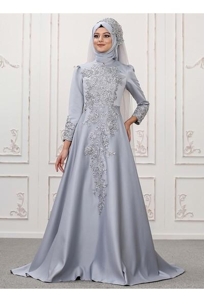 Somfashion Kadın Lilyum Abiye Elbise Gri