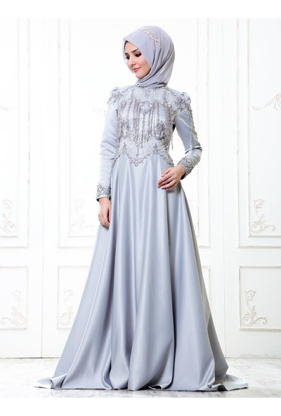Somfashion Kadın Asu Abiye Elbise Gri