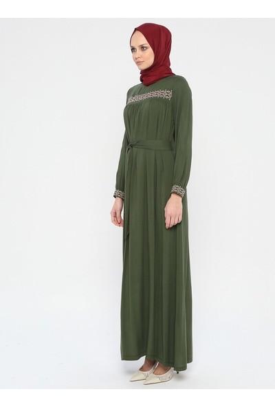 Ginezza Nakışlı Elbise Haki