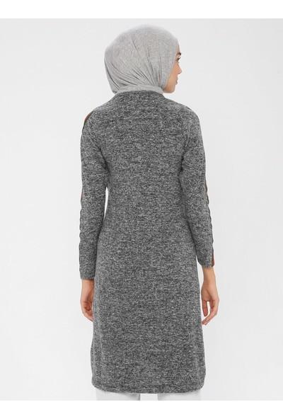 Dadali Kadın Drop Baskılı Tunik Füme