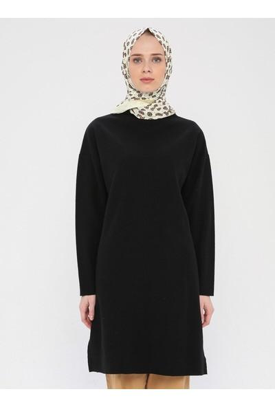 Dadali Kadın Balıkçı Yaka Tunik Siyah