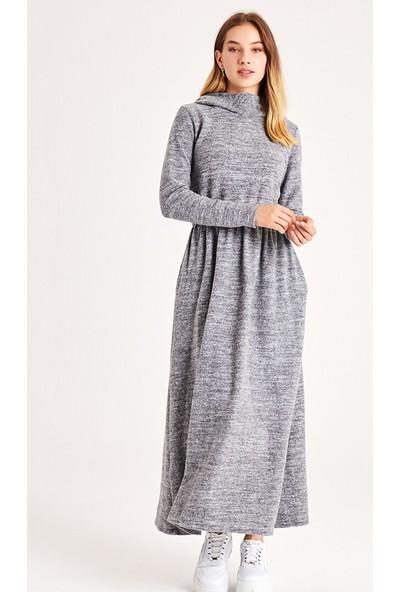 Muni Muni Kapüşonlu Triko Elbise Gri