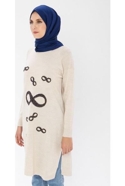 Dadali Kadın Payet Detaylı Triko Tunik Taş