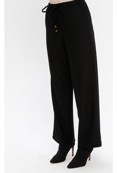 Panaline Kadın Beli Lastikli Fitilli Pantolon Siyah