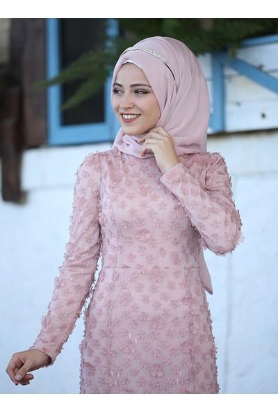 Al-Marah Kadın Aslım Abiye Elbise Pudra