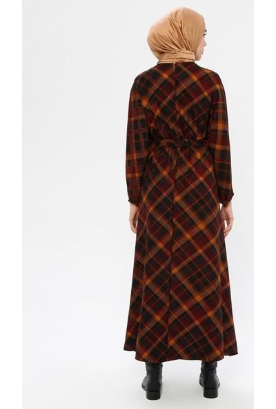 Panaline Kemer Detaylı Kadife Elbise Bordo