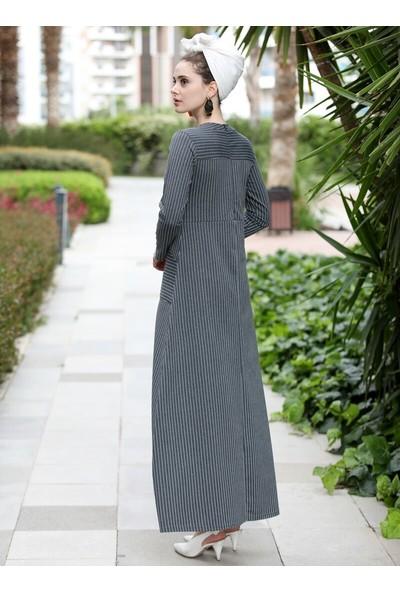 Selma Sarı Design Çizgili Cepli Elbise Füme