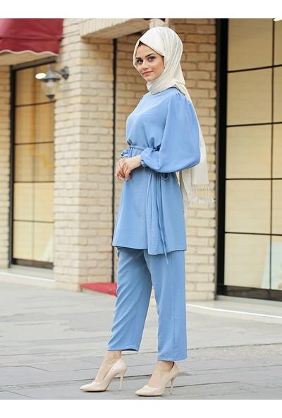 Gizem Kış Elis Tunik Pantolon İkili Takım Mavi