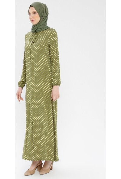 Ginezza Puantiyeli Elbise Haki
