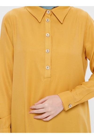 Panaline Kadın Düğme Detaylı Tunik Safran