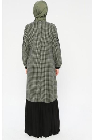 Ginezza Nakış Detaylı Garnili Elbise Haki
