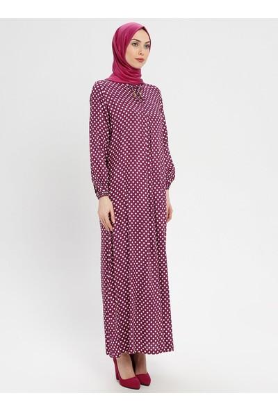 Ginezza Doğal Kumaşlı Puantiyeli Elbise Mürdüm