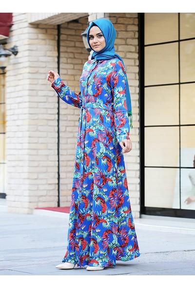 Gizem Kış Doğal Kumaşlı Bahar Elbise Saks