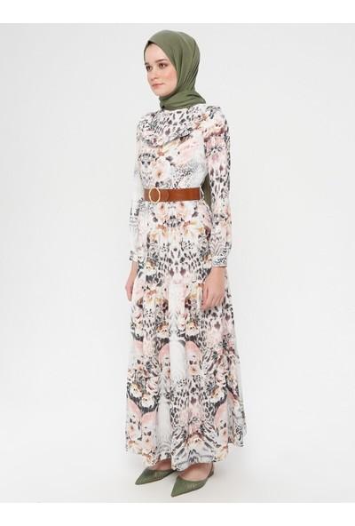 Panaline Yaka Detaylı Kemerli Elbise Pembe