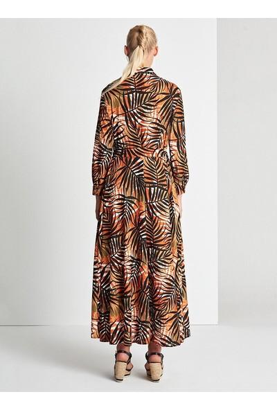 Muni Muni Floral Sedef Düğmeli Elbise Turuncu