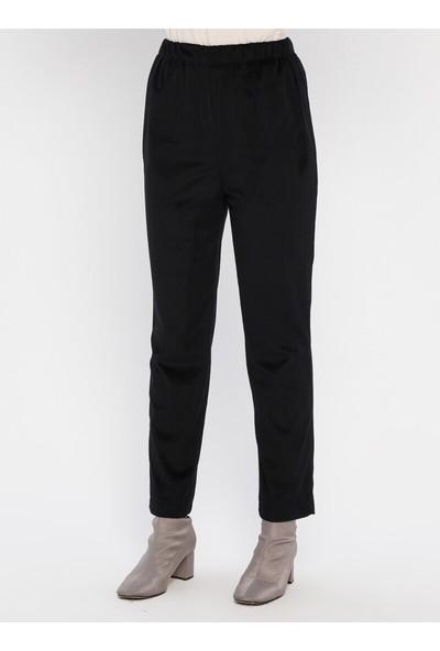 Panaline Kadife Ceket Pantolon 2`Li Takım Siyah