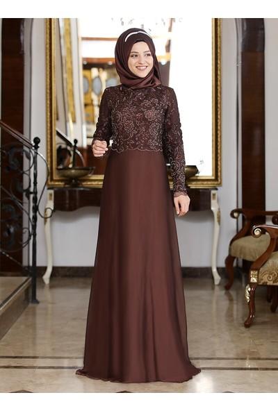 Al-Marah Kadın Selvi Abiye Elbise Kahve