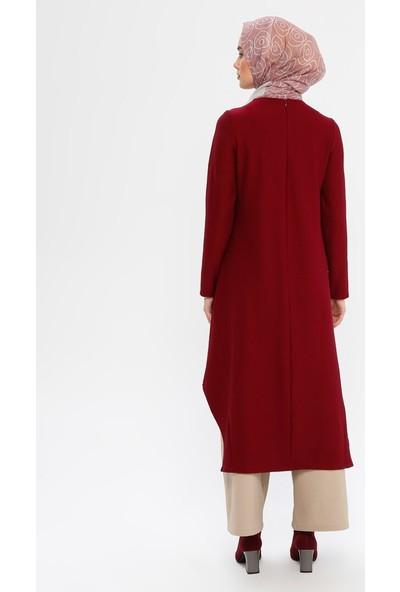 Panaline Kadın Cep Detaylı Fitilli Tunik Elbise Bordo