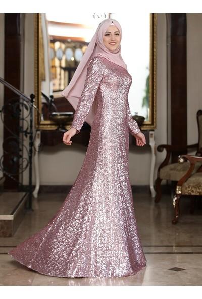 Al-Marah Kadın Hanzade Abiye Elbise Pudra