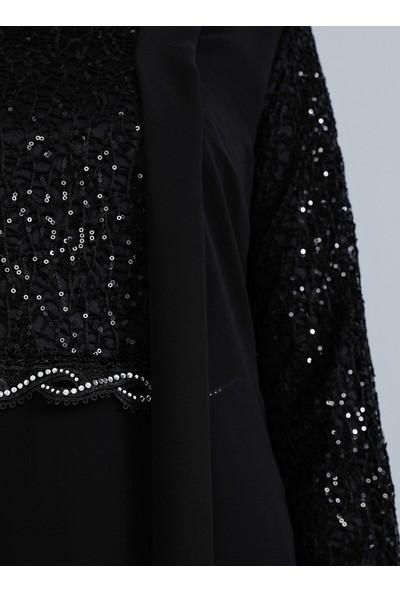 Tavin Dantel Detaylı Şifon Abiye Elbise - Siyah