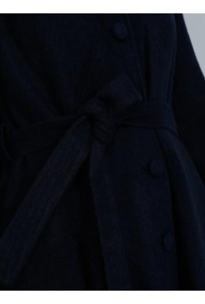 Tavin Düğme Detaylı Astarlı Kaban - Lacivert
