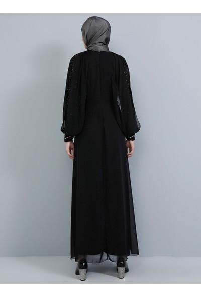 Tavin Dantel Detaylı Taşlı Abiye Elbise - Siyah