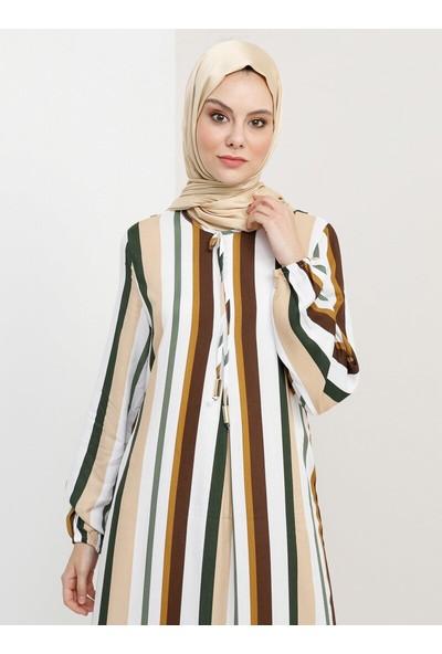 Tavin Çizgili Elbise - Açık Vizon