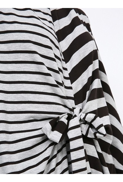 Tavin Önü Bağcıklı Çizgili Tunik - Siyah Gri