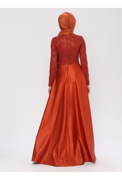 Mileny Kiremit Taş Detaylı Abiye Elbise