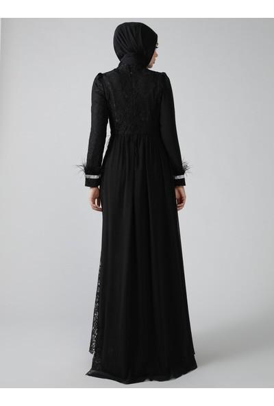 Refka Siyah Otriş Detaylı Dantelli Abiye Elbise