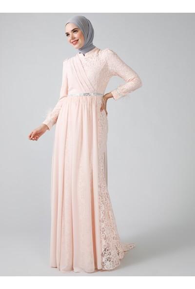 Refka Somon Otriş Detaylı Dantelli Abiye Elbise
