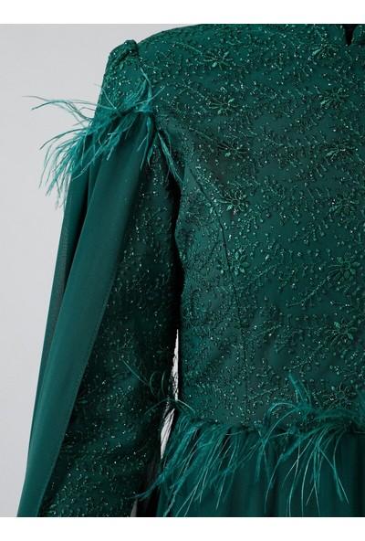Refka Zümrüt Otriş Detaylı Şifon Abiye Elbise