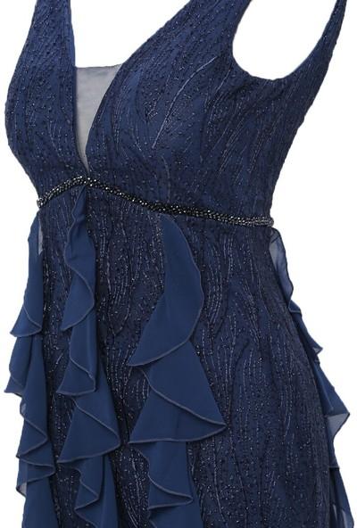 Mileny Lacivert Volan Detaylı Abiye Elbise