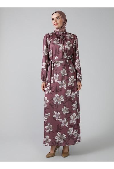 Refka Mor Desenli Elbise