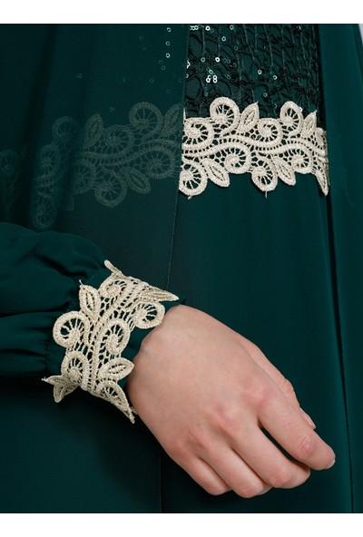 Tavin Zümrüt Güpür Detaylı Şifon Abiye Elbise