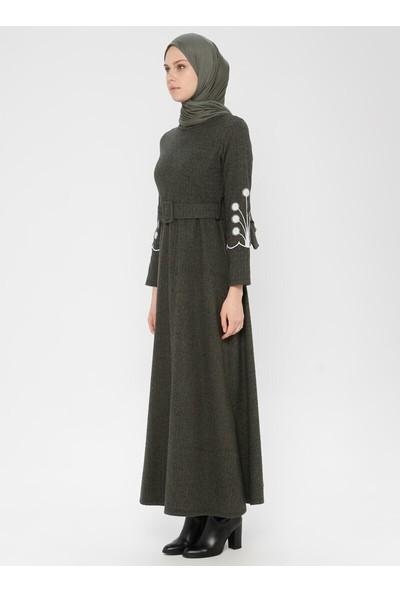 Dadali Kol Detaylı Elbise Haki