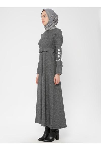 Dadali Kol Detaylı Elbise Gri
