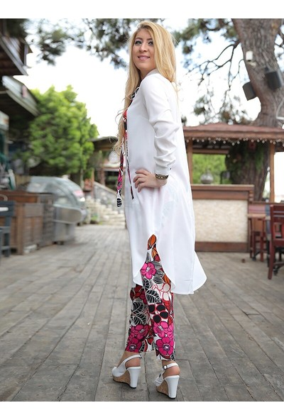 Nilüfer Kamacıoğlu Fularlı Tunik Pantolon Takım Ekru